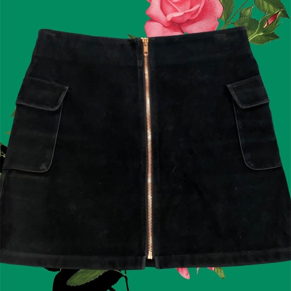 MINKPINK Black Faux-Suede Mini Skirt